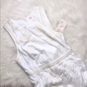 FREE PEOPLE WHITE HGH NECK EMBROIDERED FLARE DRESS